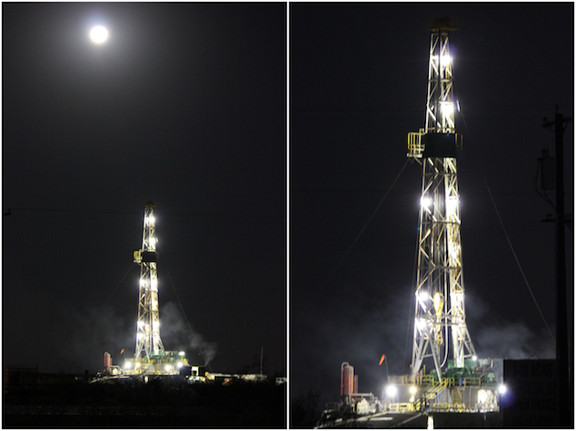 Oil Rigs with Full Moon